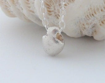 Mini Silver Beach Pebble Pendant - One of a Kind Fine Silver Necklace, Free UK Postage