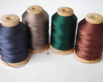 4 spools Vintage Holland MFG CO  Silk Thread Spool Wooden Spool 520 yds
