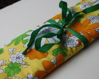 Bag for needles Knitting Needle Case Organizer-30 pockets for all size needles.Orange,green,white,yellow  floral pattern