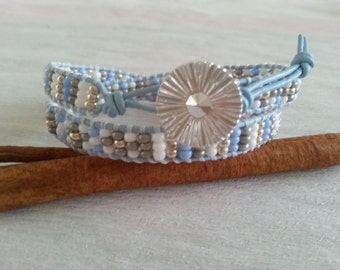 2x leather wrap, seed beads, light blue