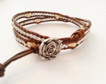 MTO, Romantic Double wrap bracelet, leatherwrap bracelet, seed beads wrap, light yellow bead wrap