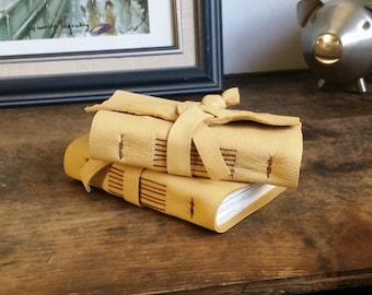 Leather Journal Gift Set, Two Golden Hand-Bound 3 x 4.5 Journals by The Orange Windmill on Etsy 1654