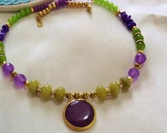 Bohemian jade necklace  , gypsy necklace ,handmade gemstone  indie necklace , gemstone necklace , nomad necklace
