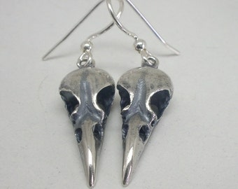Tiny 1'' Raven Skull Earrings, Sterling Silver