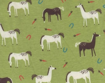 Grazing Horses 100% Cotton Rib Knit Fabric