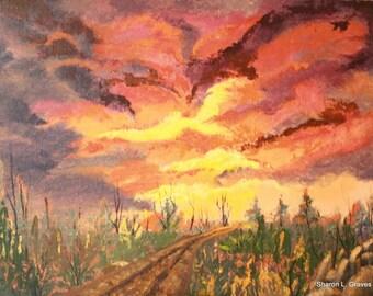 Dramatic Sunrise original painting