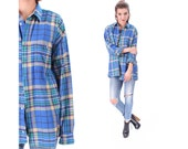 Oversized Flannel Shirt 80s Plaid Shirt Blue Yellow THICK DISTRESSED Grunge Vintage Button Down Lumberjack Women Men Retro Large to XL