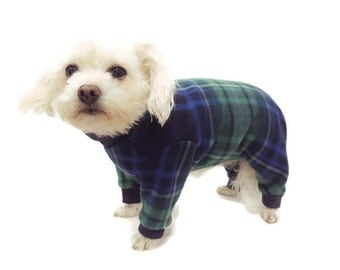 Navy Plaid Fleece Dog Pajamas-Fleece Dog Pajamas-Dog Pajamas-Dog Clothes-Dog Clothing-Dog Onesie-Clothes for Dogs-Onesies for Dogs