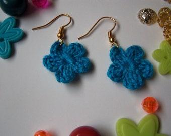 Blue Crochet Flower Earrings. Handmade Earrings.