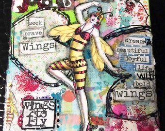 "Mixed Media 4""x4"" Canvas - Full of Whimsy - Must See!"
