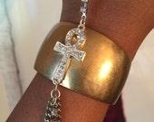 Ankh Hand Chain Cuff Bracelet - Gold with silver rhinestone crystals
