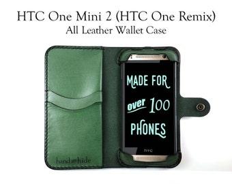 HTC One Mini 2 / HTC One Remix Leather Wallet Case - No Plastic - Free Inscription