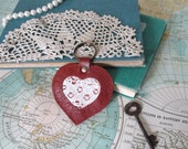 Sweet Valentine No. 1 // Leather key chain // Key Fob // Purse charm // Luggage tag // Bridesmaid gift // Valentines gift // Ready to ship