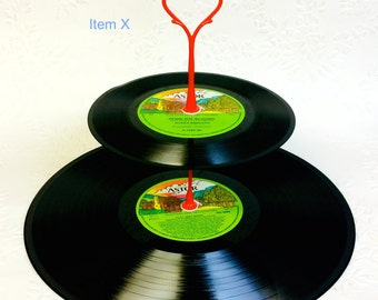 CLEARANCE  2 tier Vinyl Record Cupcake Stand Retro Cake Stand