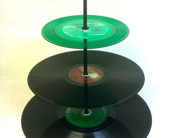 3 tier Vinyl Record Cupcake Stand Retro Cake Stand Green Burgundy