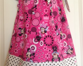 Minnie Mouse Dress/Minnie Mouse pillowcase dress/Minnie Mouse Birthday Dress/Disney Pillowcase dress/Disney Pillowcase style dress