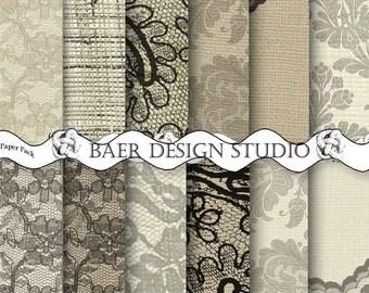 DIGITAL PAPER VINTAGE:Lace Digital Paper, Burlap and Lace Digital Paper, Ivory/Taupe/ Black Lace Digital Paper, Hochzeitseinladung