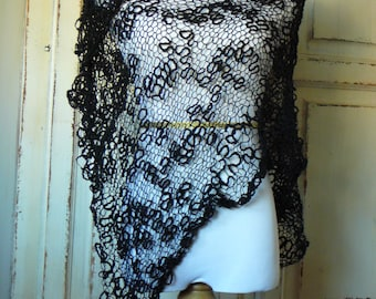 Oversized Shawl Black Hand Knit Lace Scarf Cover Up