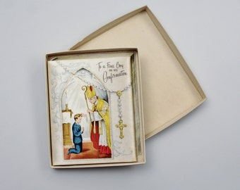 Vintage Satin Religious Keepsake Card - Souvenir of Confirmation Card - The Paramount Line USA - Blessings of Confirmation