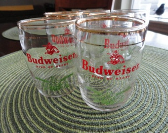 B436)  Vintage Budweiser Sample Beer Glasses