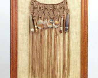 Vintage Framed Macrame Fiber Art Shell Bead Wall Hanging