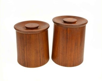 Mid Century Wood Canister Set by Gladmark California // Pair of Wooden Danish Modern Style Kitchen Lidded Storage Containers