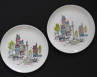 Metlox Poppytrail Street Scene Dinner Plates