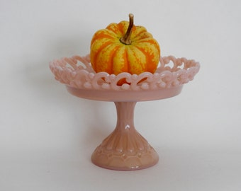 Fenton Pink Milk Glass- Backwards C Pattern-Pedestal Compote- Wedding Decor-
