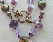 Amethyst and pearl with Swarovski crystal necklace hand knotted between beads sterling silver special clasp