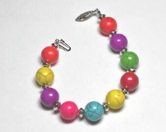 "Bright Howlite ""Marble"" Rosary Decade Bracelet"
