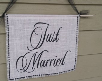 Here Comes The Bride, Burlap Banner, Just Married Banner, Rustic Wedding, Burlap Wedding, White Burlap Banner, White and Black Wedding
