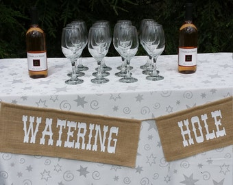 Watering Hole Sign, Burlap Banner, Rustic Wedding, Burlap Wedding, Watering Hole Burlap, Watering Hole Banner, Rustic Wedding Decor