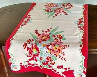 Vintage 1930's Red Floral Print Table Runner