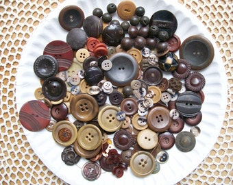 Vintage / Antique BROWN BUTTON LOT 180 pieces Plastic Lucite Molded Ball Leather Caramel Cut-outs Media Art Craft Clothing