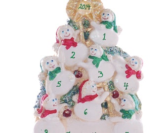 Eight snowmen Christmas ornament - personalized for eight - large family personalized ornament - Name on each snowman free (135)
