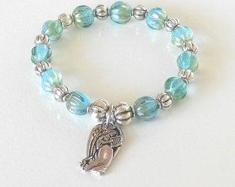 Angel of Peace Bracelet, Blue Little Girl's Holiday Bracelet, Elastic Expandable, Czech Glass, Fun Xmas Bracelet, Stocking Stuffer