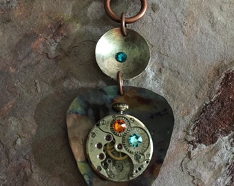 PIC YOUR TIME Pendant..guitar pic..torched metal..genuine watch part..sterling disk oxidized..swarovski crystals..steampunk..original