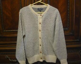 Classic Cream Grey Herrington Land's End Women's Wool Blend Cardigan Sweater Size Large