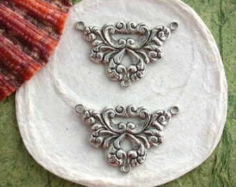 Antique Silver Stampings Made in USA, Art Nouveau Style Stampings, 3-Loop Links, Jewelry Findings, Vintage Style Stampings STA-101-10