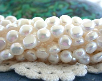Button Shaped Fresh Water Pearls, Crème Fresh Water Pearls, Heirloom White Beads,  Real Pearl Beads FWP-085