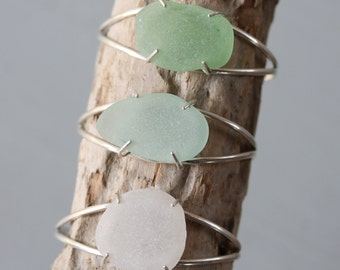 Sea Glass Clutch Cuff - Light Aqua or Seafoam Seaglass
