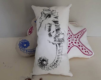screen printed, hand pulled seahorse cushion/pillow