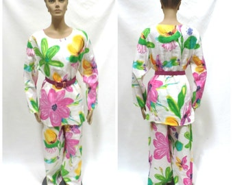 1980s Linen 3 Piece Suit Size 14 Skirt Palazzo Pants Tunic Top Bright Floral Jenna