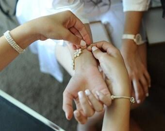 Wedding Bracelet, Bridal Jewellery, Pearl bracelet, Wedding accessories, Acrilic pearl Cubic Zirconia Bracelet, Bridal Bracelet