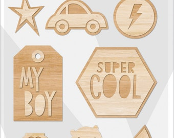 Crate Paper Cool Kid Wood Embellishments -- MSRP 4.00