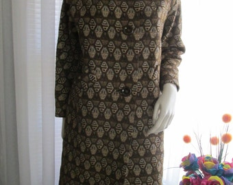 1960's Ladies Brownish Abstract/Geometric Pattern COAT With MINK Collar by Charles