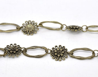3 feet Antique Bronze Flower Chain 18x27mm - Ships Immediately from California - CH12