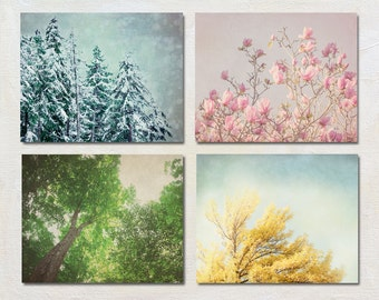 Four Season Artwork Set, Tree Photography, Nature Picture Set, Tree Top Photo Collection, Living Room Wall Decor, Winter Spring Summer Fall