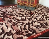 Boho Table Runner In Deep Brown And Cinnamon Indonesian Batik  With Fringe Ends