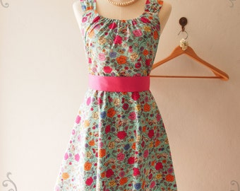 Vintage Floral Sundress Dress Floral Vine Skater Dress Blue Summer Floral Bridesmaid Dress Floral Tea Dress Blue, XS-XL, Custom
